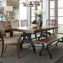 Opt 6 Piece Trestle Table Set ***While They Last***