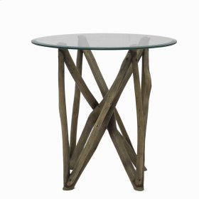 Branch Forest End Table w/ Glass Top, Washed Gray