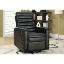 RECLINING CHAIR - SWIVEL GLIDER / BLACK BONDED LEATHER