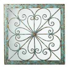 Framed Square Scroll Wall Decor with Mirror.