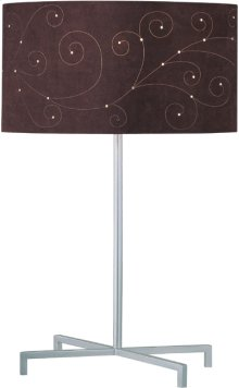 Table Lamp, Silv/coffee Laser Cut Microfiber Shd,type A 100w