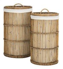 Libby Rattan Storage Hamper With Liner - Honey
