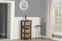 Tuscan Retreat® Basket Stand With Metal Front Drawer and Three Baskets - Smoke