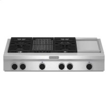 KitchenAid® 48-Inch 4 Burner Gas Rangetop, Commercial-Style - Stainless Steel
