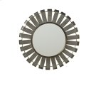 Small Round Galvanized Slat Wall Mirror with Gold Edge. Product Image