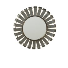 Small Round Galvanized Slat Wall Mirror with Gold Edge