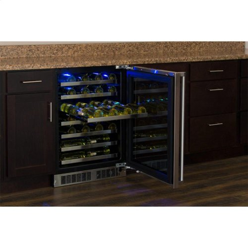 "24"" High Efficiency Single Zone Wine Cellar - Panel-Ready Framed Glass Door with Lock - Integrated Left Hinge (handle not included)*"