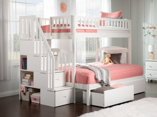 Westbrook Staircase Bunk Bed Twin over Full with Urban Bed Drawers in White