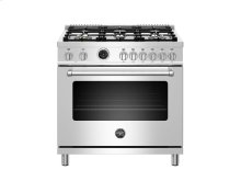 36 inch Dual Fuel Range, 6 Brass Burners, Electric Self-Clean Oven Stainless