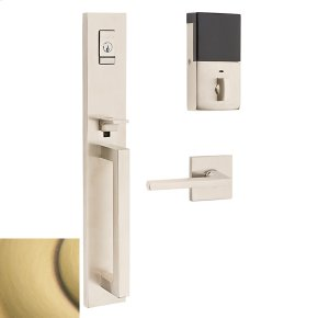 Satin Brass and Brown Evolved Minneapolis Full Escutcheon Handleset