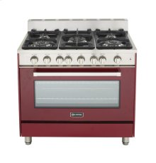 "Burgundy 36"" Gas Range with Single Oven"