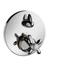 Polished Bronze Thermostatic mixer for concealed installation with shut-off/ diverter valve and cross handle
