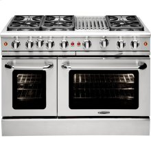 """48"""" Gas Convection Range with 6 Sealed Burners 19K BTU + 12"""" BBQ Grill"""
