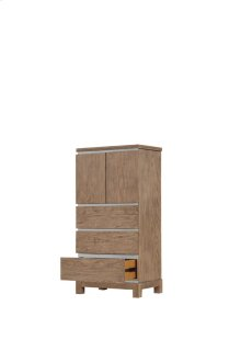 Lingerie Chest-doors W/lower Drawers-weathered Gray Finish