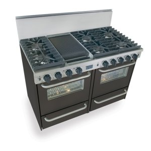 """Five Star48"""" All Gas, Convection, Sealed Burners, Black"""