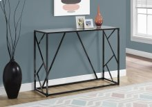 "ACCENT TABLE - 44""L / BLACK NICKEL METAL / MIRROR TOP"