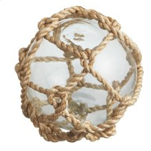 Jute Wrapped Clear Glass Orb.