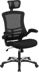High Back Black Mesh Executive Swivel Chair with Chrome Plated Nylon Base and Flip-Up Arms Product Image