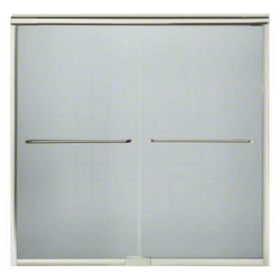 """Finesse™ Sliding Bath Door with Quick Install™ Mounting System - Height 58-3/4"""", Max. Opening 59-1/4"""" - Nickel"""