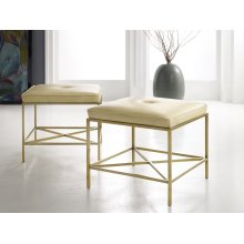 Leather & Brass Stool, Satin Brass With Leather Top.