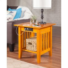 Mission End Table with Charger Caramel Latte
