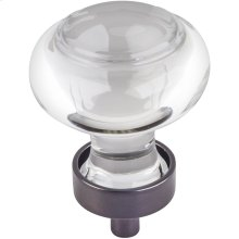"1-7/16"" Diameter Glass Button Cabinet Knob."