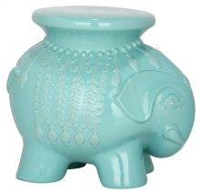 Light Blue Ceramic Elephant Stool - Robins Egg Blue