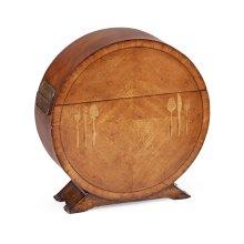 Circular Satinwood & Cutlery Inlay Placemat Box