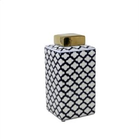 Square White/blue Jar W/ Gold Lid, 12""