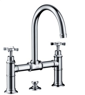 Chrome 2-handle basin mixer 220 with pop-up waste set