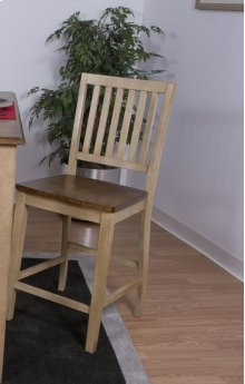 Sunset Trading Brook Slat Back Stool in Wheat with Pecan Finish Seat - Sunset Trading