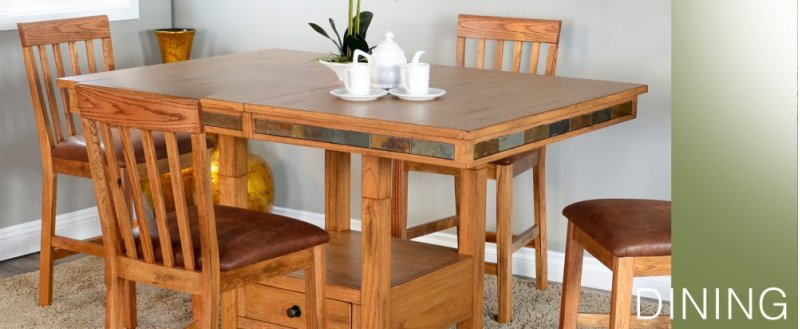 Sedona Dual Height Butterfly Leaf Dining Table W Slate
