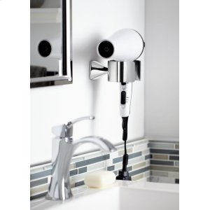 Voss brushed nickel hair dryer holder