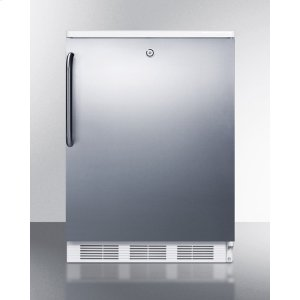 SummitCommercially Listed Freestanding All-refrigerator for General Purpose Use, Auto Defrost W/lock, Ss Wrapped Door, Towel Bar Handle, and White Cabinet