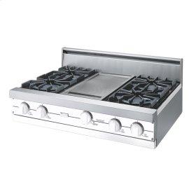 "White 36"" Open Burner Rangetop - VGRT (36"" wide, four burners 12"" wide griddle/simmer plate)"