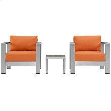 Shore 3 Piece Outdoor Patio Aluminum Set in Silver Orange