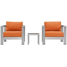 Shore 3 Piece Outdoor Patio Aluminum Set in Silver Orange