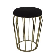 "Metal 22"" Gold Stool, Black Cushion"