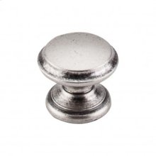 Flat Top Knob 1 3/8 Inch - Pewter Antique