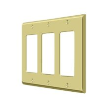 Switch Plate, Triple Rocker - Polished Brass