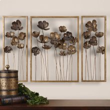 Metal Tulips Wall Decor, S/3