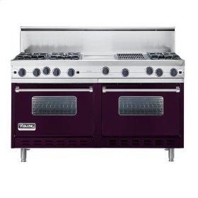 "Plum 60"" Open Burner Commercial Depth Range - VGRC (60"" wide, six burners 12"" wide griddle/simmer plate 12"" wide char-grill)"