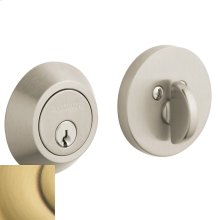 Satin Brass and Brown Contemporary Deadbolt