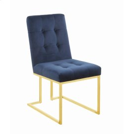 Modern Ink Blue and Gold Dining Chair