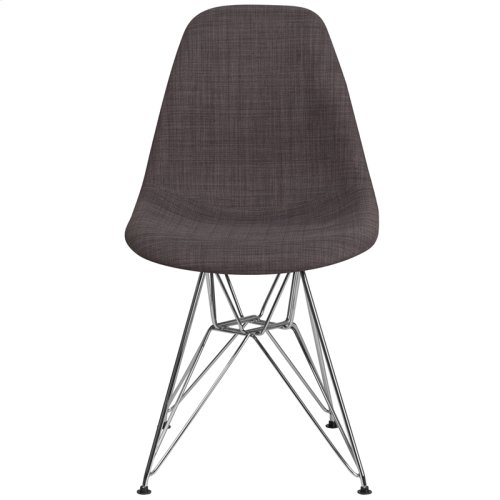 Elon Series Siena Gray Fabric Chair with Chrome Base