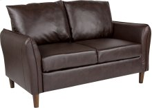 Milton Park Upholstered Plush Pillow Back Loveseat in Brown Leather