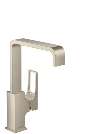 Brushed Nickel Single-Hole Faucet 230 with Lever Handle and Swivel Spout, 1.2 GPM