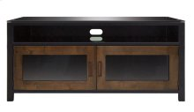 No Tools Assembly Cocoa/Matte Black Finish Wood A/V Cabinet This audio/vide...