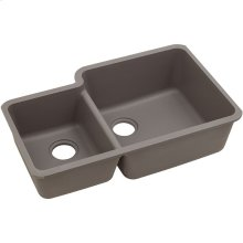 "Elkay Quartz Classic 33"" x 20-11/16"" x 9"", Offset 40/60 Double Bowl Undermount Sink, Greige"