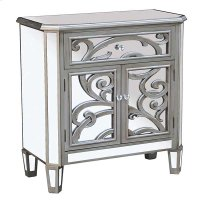 CABINET SILVER 2 DOOR - 1 DRAWER MIRROR GLASS / MDF WITH SOLID WOOD LEGS Product Image